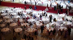 Hall with tables at 11th Viennese Ball in Gostiny Dvor Stock Footage