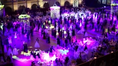 Hall with tables and beautiful people at 11th Viennese Ball Stock Footage
