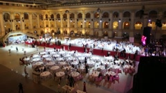 Stock Video Footage of Tables at banquet at 11th Viennese Ball in Gostiny Dvor