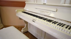 White piano Schwechten Berlin in Moscow, Russia. Stock Footage