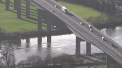 Elevated view of traffic crossing Friarton bridge across River Tay Scotland Stock Footage