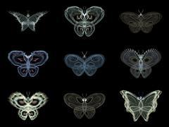 Virtual Fractal Butterflies - stock illustration