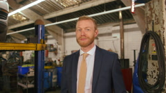 Portrait of a car workshop owner Stock Footage