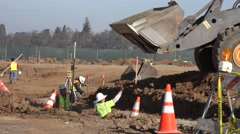 Foundation and underground work, gravel loader Stock Footage