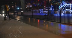 Jm1472 Outdoor Night Ice Rink Zamboni Front Wide2 Stock Footage