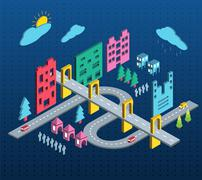 Town - stock illustration