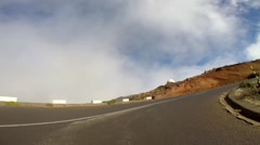 Driving and arriving at Pico do Arieiro in Madeira Stock Footage