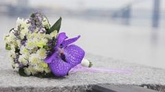 Wedding bouquet the bride Stock Footage