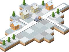 snowy village - stock illustration