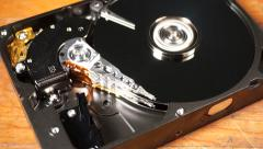 Spinning Hard Drive Close up Stock Footage