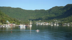 American Samoa Pago Pago harbor with small boat 4k Stock Footage