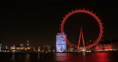 The London Eye in Red | 4K Timelapse Stock Footage