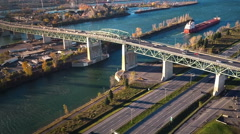 Aerial Footage of Montreal Jacques-Cartier Bridge, Quebec, Canada Stock Footage