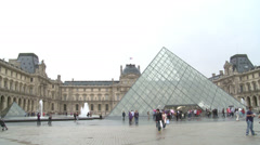 Paris, the Louvre Museum general view Stock Footage