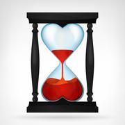 flowing red love liquid in dual heart shaped hourglass design - stock illustration