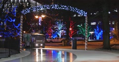 Jm1481 Outdoor Night Ice Rink Shine Zamboni Front Wide3 Stock Footage