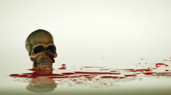 HUMAN SKULL SITS IN BLOOD Stock Footage