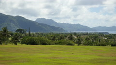 American Samoa golf course and coastal view 4k Stock Footage