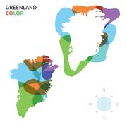 Stock Illustration of Abstract vector color map of Greenland with transparent paint effect.