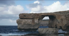 Azure Window in Gozo island - Mediterranean nature wonder in the beautiful Malta Stock Footage