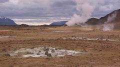 Iceland, Namaskard, Geyser Field WS 2 Stock Footage