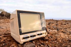 Broken Gray Television Abandoned - stock photo