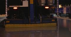 Jm1483 Outdoor Night Ice Rink Shine Zamboni Finishing Stock Footage