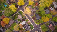 Stock Video Footage of Top Suburban View of Montreal and beautiful Trees during a Cloudy Autumn day
