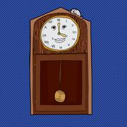 Clock with Roman Numerals and Mouse - stock illustration