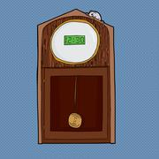 Clock with Digital Face and Mouse Stock Illustration