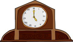 Wooden Mantle Clock Stock Illustration