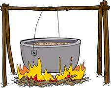 Kettle of Soup in Campfire Stock Illustration