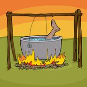 Stock Illustration of Boiling a Foot for Dinner