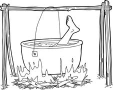 Cauldron with Human Foot - stock illustration