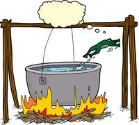 Smart Frog Escaping Cauldron - stock illustration