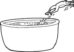 Outline Drawing of Frog Jumping Out of Pot - stock illustration