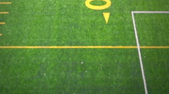 Aerial Footage of Outdoor Synthetic Football Field Lines and Numbers Stock Footage