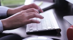 Hands Typing on White Keayboard Stock Footage