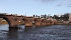 Timelapse of Smeaton Bridge across River Tay Perth Scotland Stock Footage