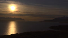 Iceland, North Coast Eyafjordur Sunset on Water, Dim - stock footage