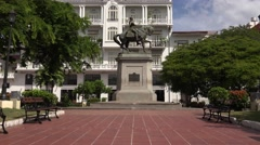 Panama City Central America Statue Herrera In Casco Antiguo 4K - stock footage