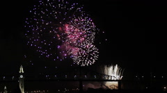 Stock Video Footage of Montreal Fireworks at Night over the Jacques-Cartier Bridge