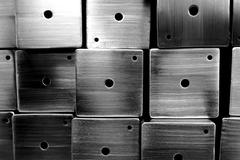 Abstract mix of stainless square box for background used Stock Photos