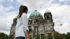 Woman walking in Berlin Germany - Berlin Cathedral / Berliner Dom Stock Footage