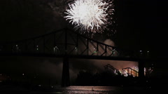 Montreal Fireworks at Night over the Jacques-Cartier Bridge Stock Footage