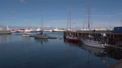 Iceland, Reykjavik Harbour, Pan large yachts to Oceanographic Vessel Stock Footage