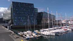 Iceland, Reykjavik, Harpa Concert Hall, Pan Right Stock Footage