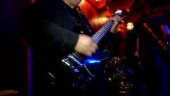 hard rock band guitar music nightclub playing finishing set on stage - stock footage