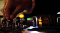 DJ Board Closeup with Hands Detail Turning Knobs and Volumes - stock footage