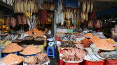 Dried fish market Cambodia Stock Footage